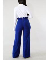 Exquisitely Sapphire Blue Self Tie Waistband Palazzo Pants Zip Closure
