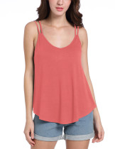 Exceptional Watermelon Red Slender Strap Sleeveless Top Low Cut