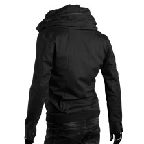 Casual Black Plus Men Jackets Functional Pockets Stand Collar