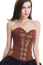 Breathable Brown 12 Plastic Boned Embroidered Overbust Corset
