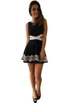 Women's Solid Top Black Dress With Hollow Waist
