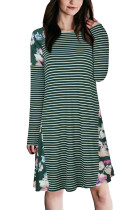 Slim Fit Stripes Green Splicing Floral Shift Dress Knee Length