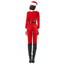 Shaggy Fluff Red Christmas Jumpsuit Costume Long Sleeves