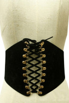 Premium Black Rivet Corset Belt Wide Panel Elastic Band