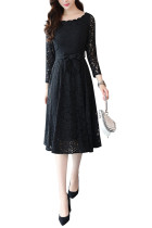 Hollow Out Black Waist Band Flowy Floral Lace Dress Full Sleeves