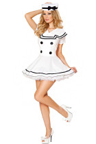 Sassy Button White Pin Up Dress Sailor Maiden Costume