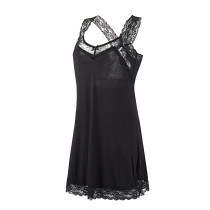 Alluring Black Lace Trimmed Sleepwear Chemise Dress