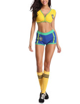 Yellow Brazilian Baby Ruched Cup Cosplay 3 Pieces Sleeveless Female High Grade