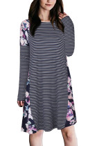 Leisure Silhouette Flowers Pattern Navy Stripe Dress Full Sleeves