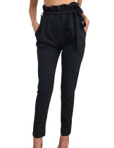 Unique Fall Black Stretchy Trousers Wide Waistband Ankle Length