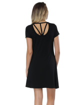 Loose Black Mini Bamboo Dresses With Short Sleeve For Vacation