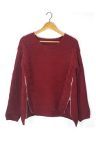 Eye-Catching Wine Red Side Zipper Knitting Sweater Round Neckline