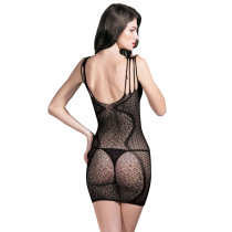 Black Nylon Open Back Womens Short Sexy Fishnet Bodystocking