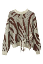 Distinctive Brown O-Neckline Knitting Sweater Zebra Stripes