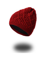 Comfortable Wine Red Knitted Couple Caps Keep Head Warm