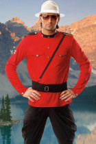 Royal Men Mountie Costume Red Jacket And Black Pants
