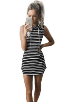 Classic Black And White Stripes Drawstring Hoodie Dress