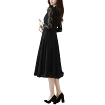 Contouring Black Leaf Crochet Lace Dress Fluttering Wide Hem