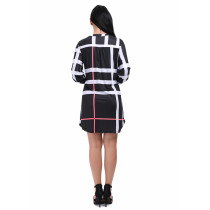Comfortable Sleeved Button Up Plaid Dress Knee Length