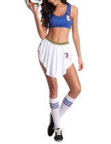 Magical Blue Italy Team Football Baby Cosplay Set Skirt Slimming Style
