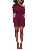 Lightweight Wine Red High Waist Romper Off The Shoulder Half Sleeve Woman