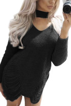 Irresistible Winter Black Shredded Knitted Dress Choker Neck