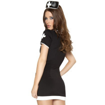Seducer Black Turn Down Collar Dress Nurse Halloween Costume