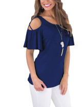 Unforgettable Navy Blue Ruffle Trim Shirts Short Sleeves