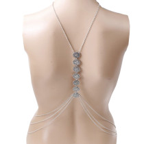 Adorned Silver Multi-Layer Necklace Crossover Body Chain Chic Online