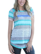 Breathable Stripe Splicing Blue Short T-Shirt Side Button Detail
