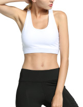 White Ruching Scoop Neck Sports Bra Women Outfit