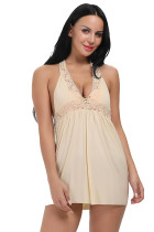 Beautiful Beige Unlined Cup Chemise With Sexy Thong