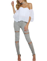 Stretchable Grey Ripped Leg Pants Ankle Length High Rise