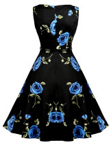 Remarkable Sleeveless Print Skater Dress Matching Belt