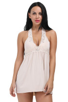 Stunning Apricot Lightweight Chemise With Crochet Lace