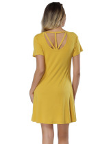Ginger Bamboo Cut Out Dress Mini Length Tailored Quality