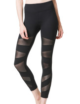 Refreshing Black Jogging Legging Asymmetrical Mesh Panel