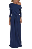 Special Long Solid Blue Bateau Neck Self Tie Front Evening Dress