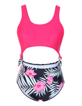 Floral Print Rose Red Bikini Set Side Tie Trendy Swimwear Hollow Out