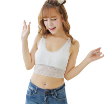 U-neck Lace Trim Sleeveless White Crop Top Tight Sexy Lady Tube Top