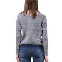 Glamorous Ribbed Grey Knitted Tops Tie The Knot Smooth Touch