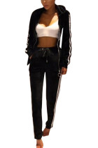 Fashionable Black Stitching Pockets Velour Sweatsuit Print Long Sleeves