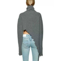 Grey Drapery Knit Irregular Hemline Sweater High Neckline