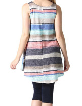 Homelike Sapphire Blue Striped Hit Colors T-Shirts Flared Hemline