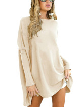 Leisure Autumn Apricot Queen Size Pullover Tops Bateau Neck
