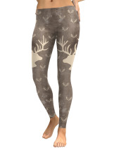 Interesting Elk Head Printed Bottoms Ankle Length Natural Fit