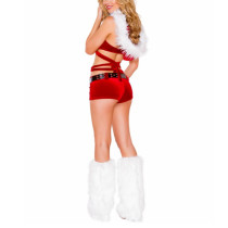 Stretch Velvet Red Wrapped Hooded Christmas Costume