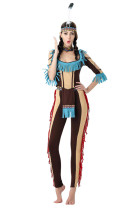 Color Contrast Tribal American Indian Halloween Costume