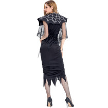 Halloween Black Spider Dress Costume Mesh Sleeves Ruffle Trim