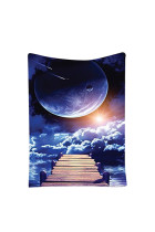 Nature Mystic Galaxy Waterfall Full Moon Theme Wall Tapestry